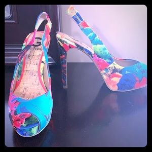 Multi-colored high heeled platform sandal